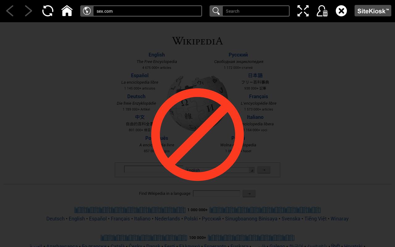 Filtr treści określa w czasie rzeczywistym, które witryny mogą być nieodpowiednie dla młodych ludzi. W konfiguracji możesz wybrać kategorie treści stron internetowych, które są zabronione. Gdy użytkownik uzyskuje dostęp do stron internetowych na tablecie, SiteKiosk Android sprawdzi, czy należy do wybranej kategorii zabronionych treści i odpowiednio go zablokuje.