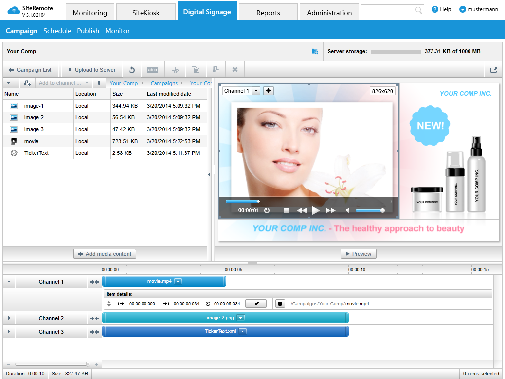 Dzięki SiteRemote możesz dystrybuować treści multimedialne do swoich maszyn SiteKiosk z serwera. Twoje treści mogą być wyświetlane w czasie bezczynności jako wygaszacz ekranu lub w trybie wyświetlania na podzielonym ekranie dzięki SiteKiosk.
