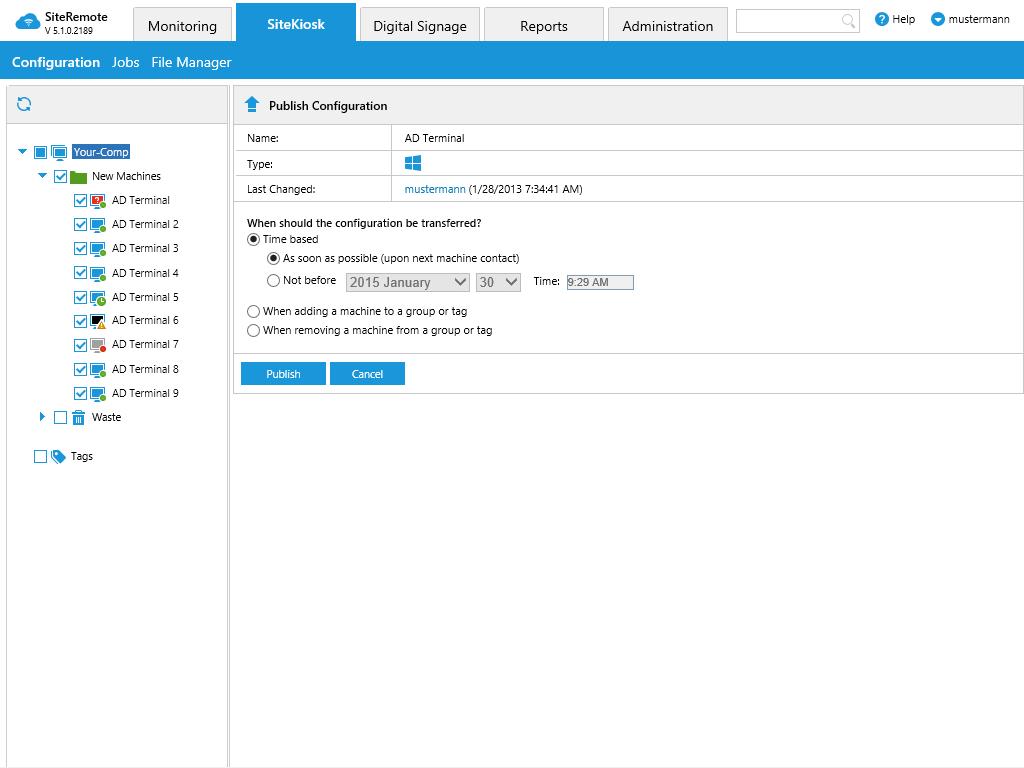 Zdalne aktualizacje konfiguracji Zdalny dostęp do pulpitu przez VNC Zdalny monitoring / system alarmowy Zadania wsadowe dla grup maszyn