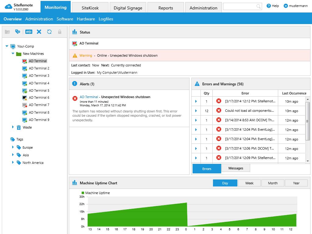 Możesz użyć opcjonalnego narzędzia do zdalnego zarządzania SiteRemote, aby monitorować, utrzymywać i zdalnie sterować komputerami w kiosku online. Za korzystanie z SiteRemote obowiązują dodatkowe opłaty.
