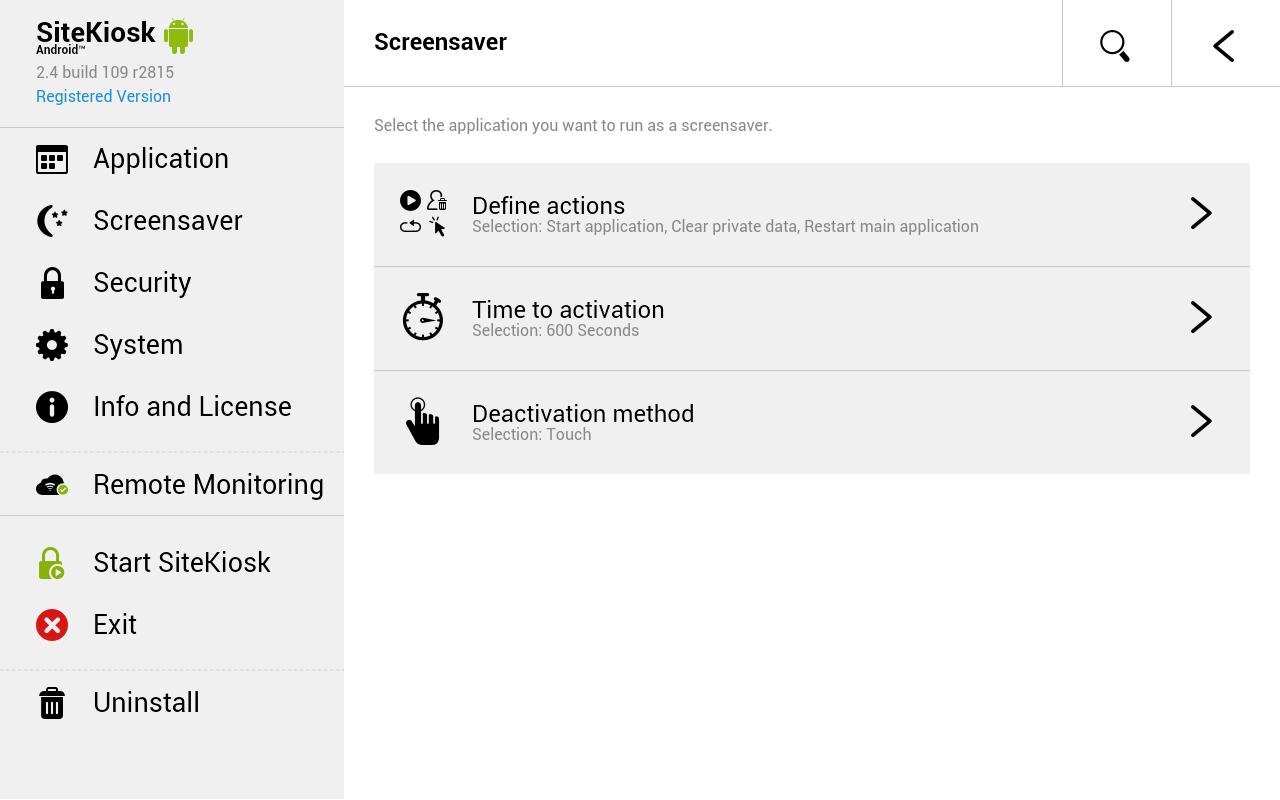 Gdy urządzenie nie jest używane, wygaszacz ekranu umożliwia zaplanowanie i prezentację treści internetowych lub oznakowania cyfrowego.